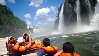 Extreme boat trip inside Iguazu Falls (Cataratas de Iguaçu) in HD