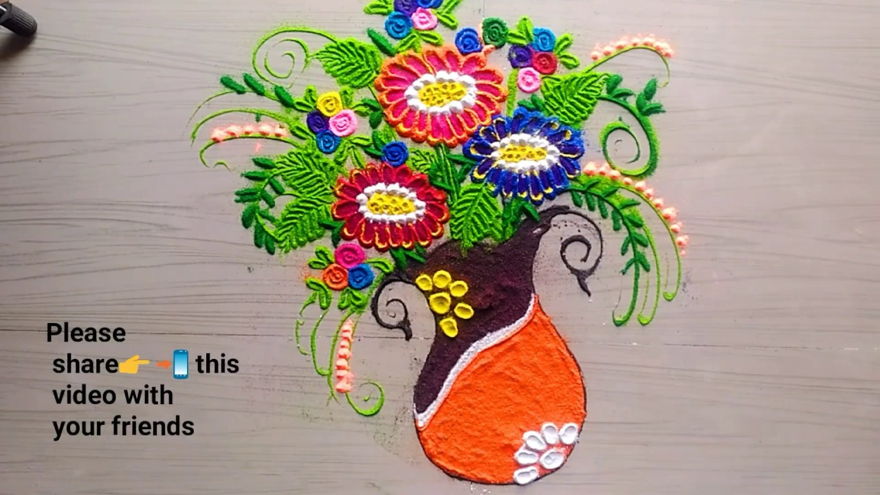 Rangolihow To Make Beautiful Flowers Pot Youtube