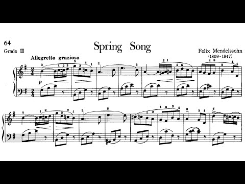 Piano Pieces for Children Grade 3 No.3 Mendelssohn Spring Song (P.64) Sheet Music