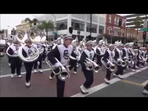 The Penn State Blue Band marches in the Rose Parade