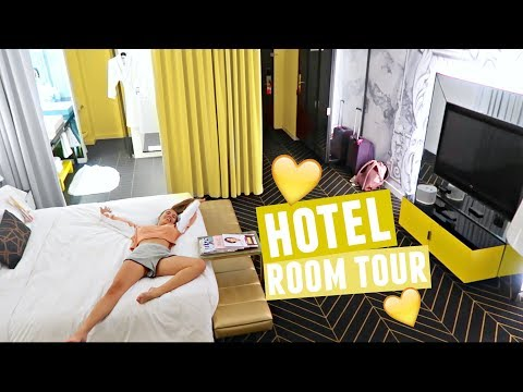 YELLOW AESTHETIC HOTEL ROOM TOUR!! + Luxury Dog Room Service Menu LOL!