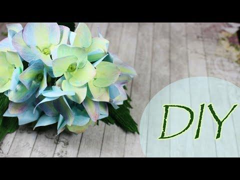 Гортензия из бумаги   Мастер-класс   Декор цветами из бумаги