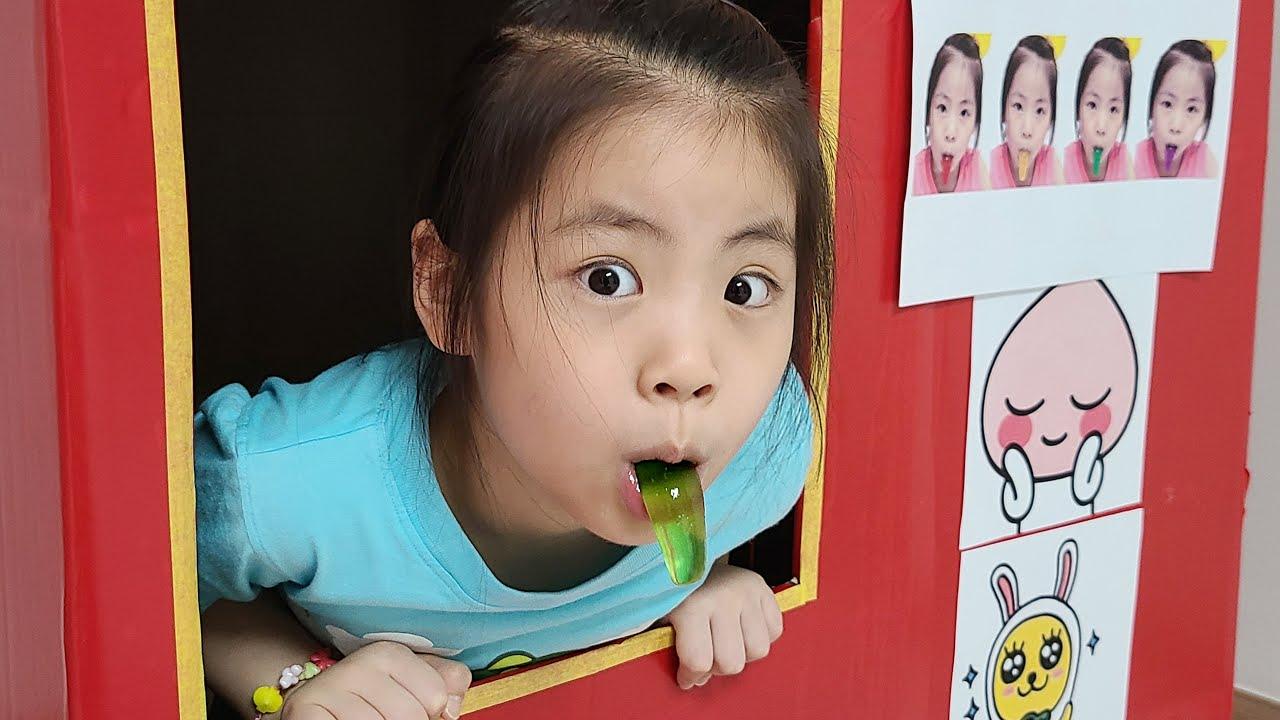 자판기에서 무엇을 팔아볼까요? 서은이의 메롱 장난감 교환 자판기 Seoeun made Nuh Boo Jelly Vending Machine