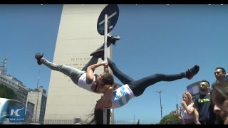 Street show staged to heat up regional pole dance competition in Argentina