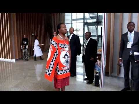 PRAISE SINGER OF SWAZILAND'S KING MSWATI III IN ACTION IN ADDIS ABABA