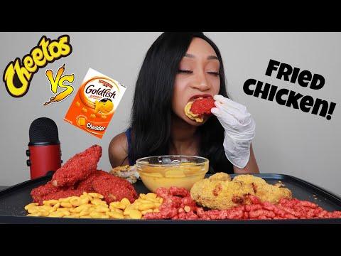 HOT CHEETO VS CHEDDAR GOLDFISH FRIED CHICKEN!