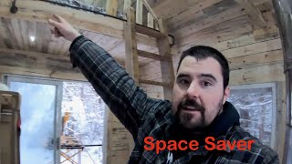Spacing Saving Loft Ladder. Ladder For A Tiny House.