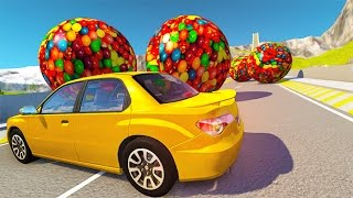 Destroying Cars With Giant Candy Balls BeamNG.drive