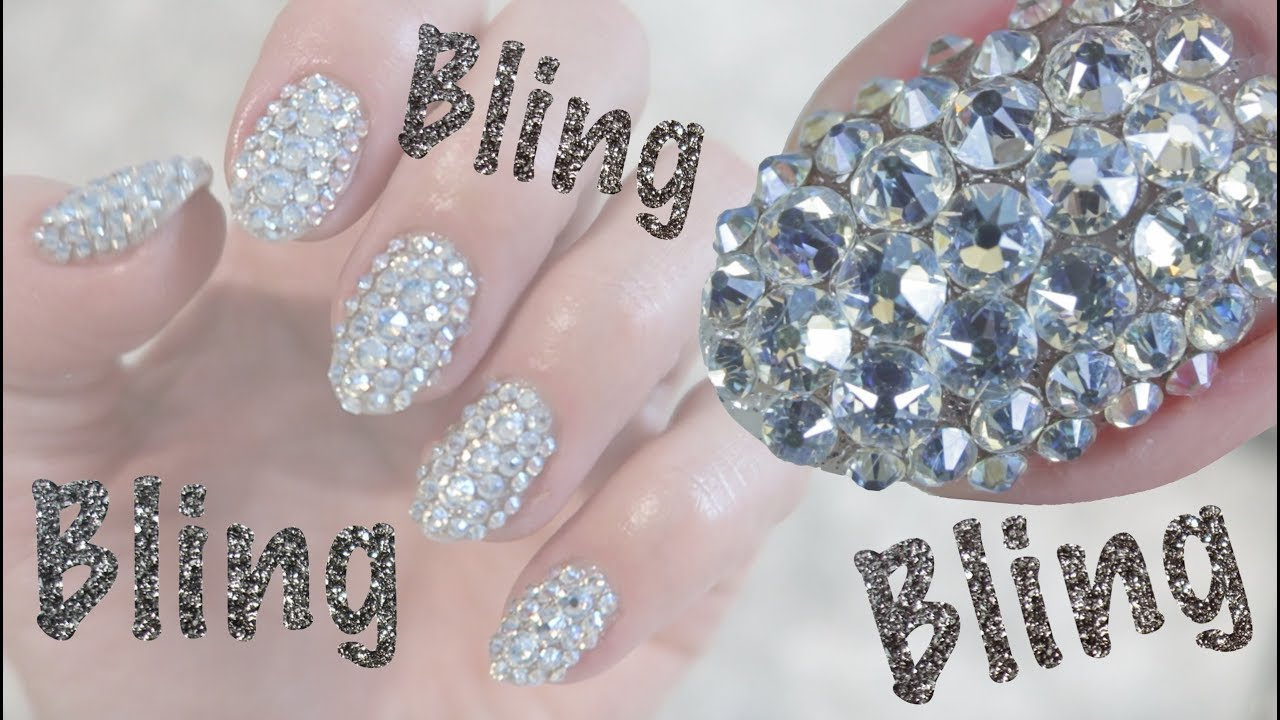 45181045a How To Bling Out Nails with Swarovski Crystals | Full Set Bling ...