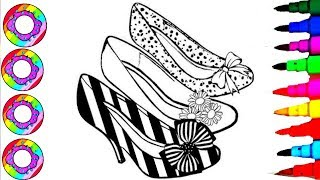 Rainbow Learning Colors by Coloring Princess Shoes for Girls Coloring Sheets Coloring Books