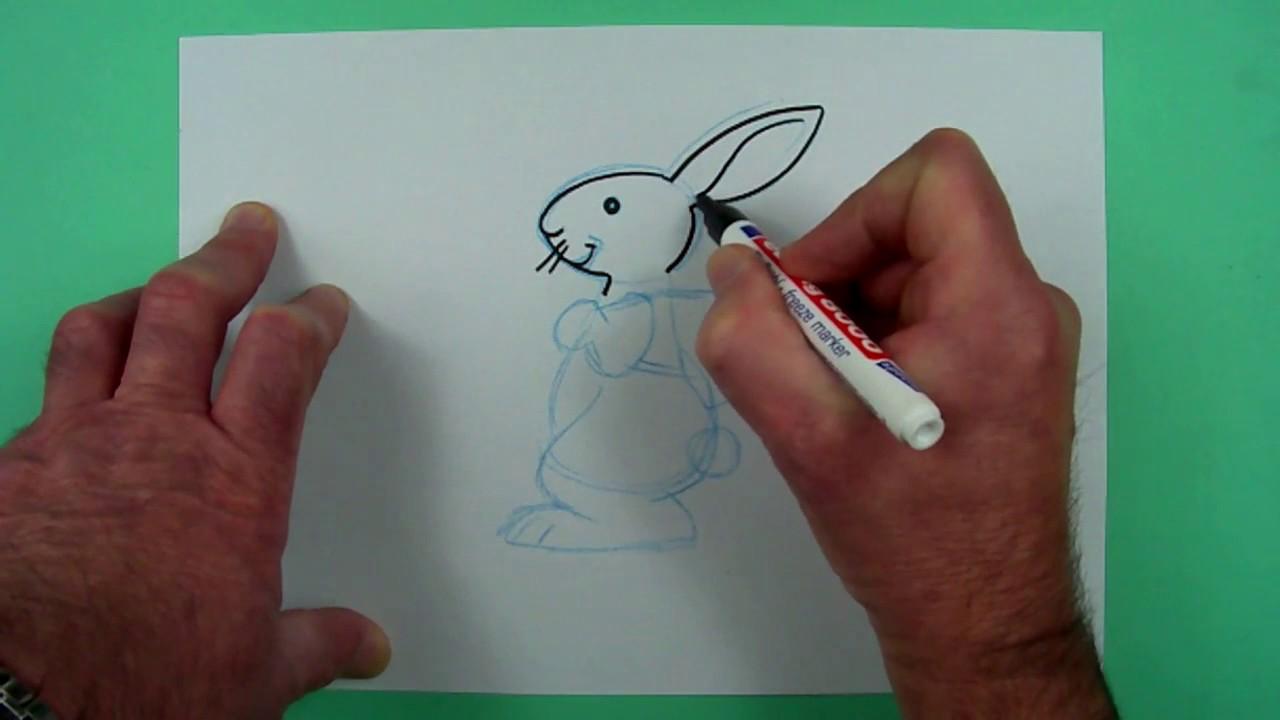 Wie Zeichnet Man Einen Einfachen Osterhasen Zeichnen Fur Kinder Youtube