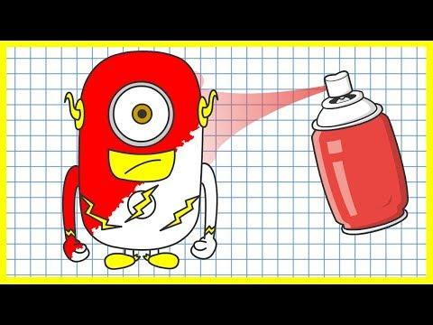 Мультик с миньонами - Раскраска - Супергерои - Учим цвета
