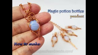 Magic potion bottles pendant with 12mm Opalite Round Cabochon and copper wire 513
