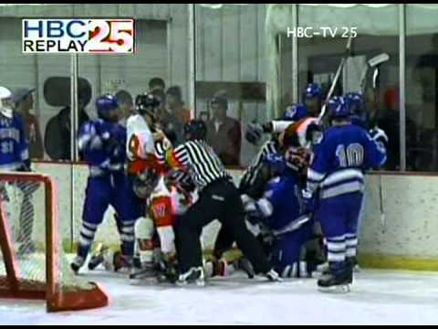An illegal hit leads to brawl at Bud King Ice Arena in Winona, MN