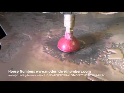 modern house numbers waterjet cutting a number 6