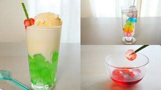 わらび餅でクリームソーダ&レインボーわらび餅串 Melon Soda Float with Warabimochi