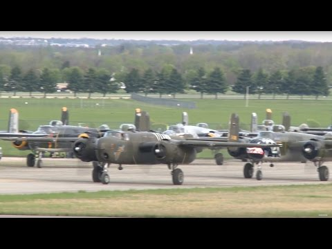 Eleven B-25 Mitchells Land For Doolittle Raid 75th Anniversary - Dayton, OH