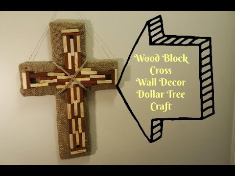 Wood Block Cross Wall Decor Dollar Tree Craft