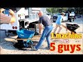 One Mulch machine Vs four guys- Can it move Material as fast as they Claim?