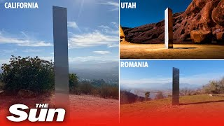 Another mystery monolith appears in California days after Utah and Romania ANOTHER mysterious monolith has appeared -- this time in California -- as the strange metal structures keep popping up around the globe., From YouTubeVideos