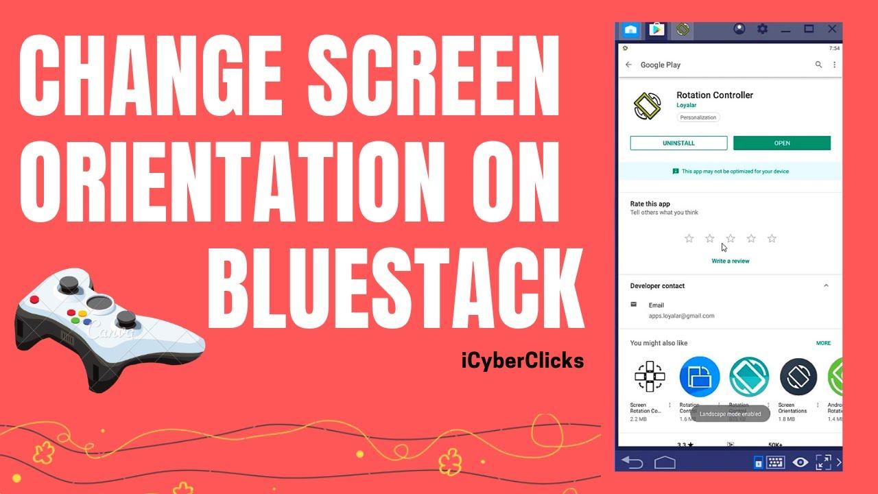 Screen Orientation Change on Bluestack 4 (2019)