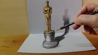 Drawing 3D Oscar Award Statuette, Magic Art
