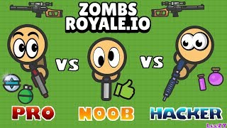 EPIC BATTLE NOOB vs PRO vs HACKER in ZOMBSROYALE. IO !!! | Fortnite.io by LeeZY