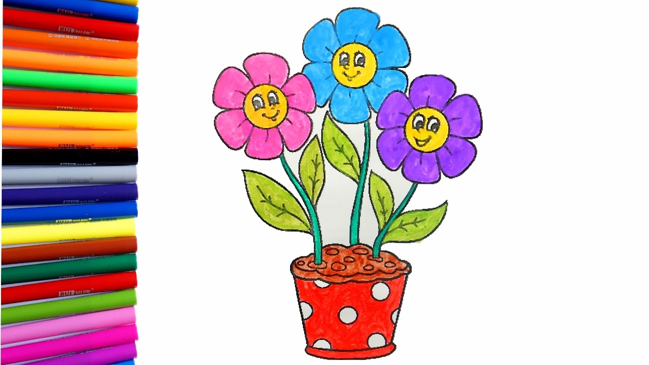 Flower Coloring Pages | Coloring a Flower Pot with 3 Colorful ...