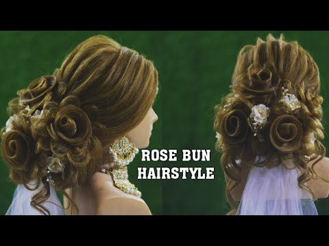 Rose Flower Bun Hairstyle | how to do | Hindi English Tutorial | step by step | Latest New Hairstyle