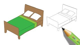How to Draw a Bed Easy Step by Step Drawing - Coloring Page