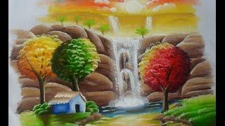 Paisagem com cachoeira – Pintura em tecido