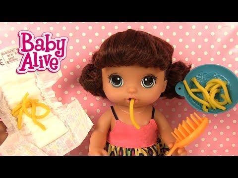 Baby Alive Poupée Mange des Pâtes et Va au Pot Snackin' Noodles Baby