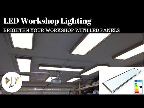 LED Workshop / Garage Lighting - with Custom Fixtures / Mounts