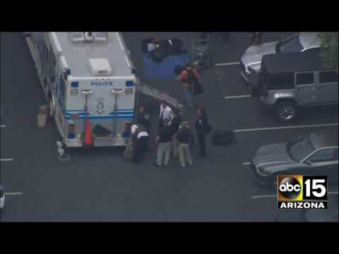 Aerials from Charlotte, NC after reports of a suspicious package near Police HQ