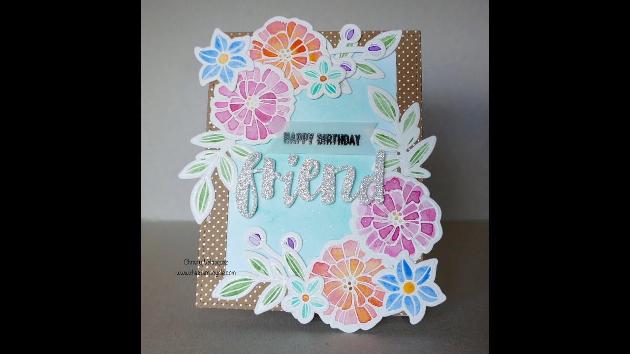 Stampin Up Falling Flowers Birthday Card Using Kuretake