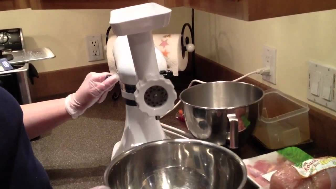 Kitchenaid Attachments Meat Grinder Using Kitchen Aid Meat Grinder Attachment  Youtube