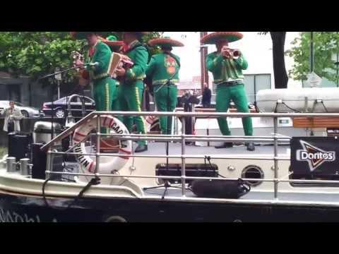 Mariachi band plays on Dublin canal