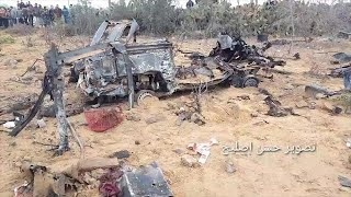שרידי הרכב שבו בוצעה הפעילות והופצץ בידי כלי טייס אחרי יציאת הכוח ממנו