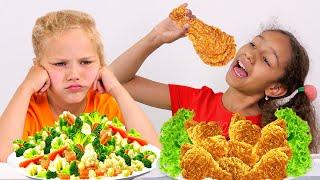 Kids Pretend Play School & Learn to Eat Healthy food!