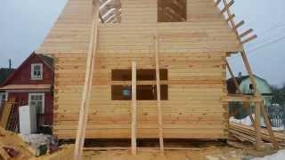 Дом из бруса 6х9.(Строительство дома из профилированного бруса 6х9 под усадку., 2015-05-02T19:42:22.000Z)