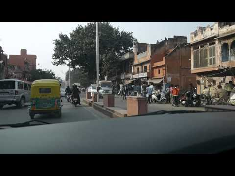 Typical drive through Jaipur's old town, Jaipur India 2014