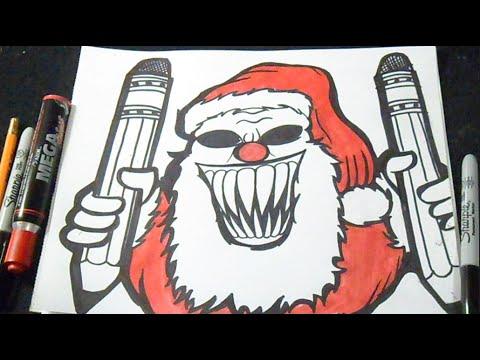Cómo dibujar a Santa Claus (Payaso) Graffiti