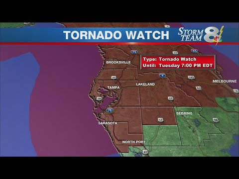 Tornado watch for most of Tampa Bay area