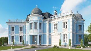 Проект дома в классическом стиле. Дом с эркером, гаражом и террасой. Ремстройсервис KR-346
