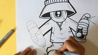 como desenhar um olho gangsta  com um pulverizador e um marcador | Wizard art - by Grafite Wörld