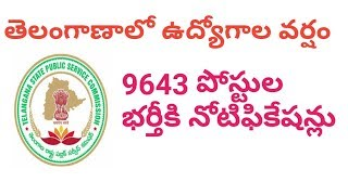 9643 Posts Recruitment Notifications in Telangana | Government Jobs Notifications by TSPSC