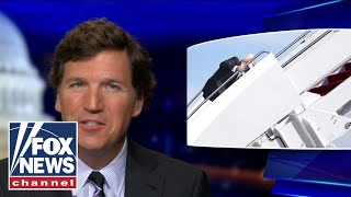 Tucker reacts to Biden's public fall up Air Force 1 stairs