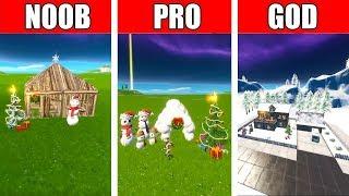 Fortnite NOOB vs PRO vs GOD: CHRISTMAS HOUSE BUILD CHALLENGE in Fortnite