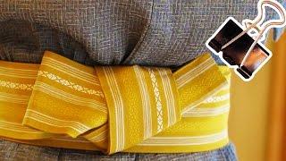 簡単!帯の結び方【貝の口編】男の浴衣の着付け帯の締め方の決定版!How to wear a yukata obi with binder clip  バインダークリップのライフハック thumbnail