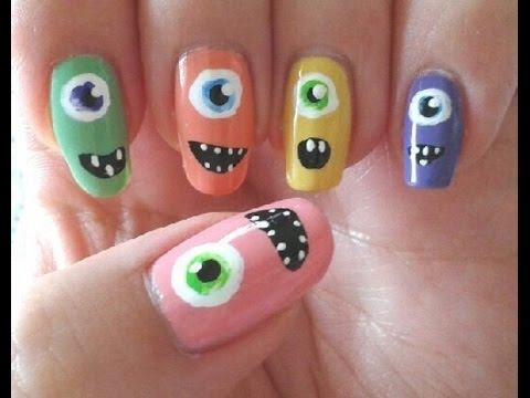 cute monsters  easy nail art for halloween  rockin